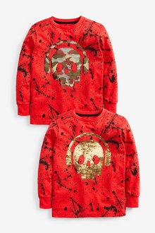 Next Long Sleeve Skull Sequin T-Shirt (3-16yrs) - 270381