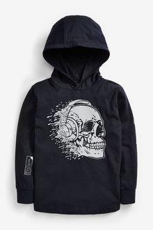 Next Long Sleeve Skull Hooded T-Shirt (3-16yrs) - 270388