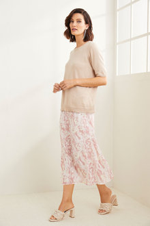 Grace Hill Printed Midi Skirt - 270448