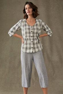 Grace Hill Linen Blend Panel Crop Trouser - 270459
