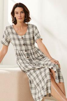 Grace Hill Linen Blend Check Shirt Dress - 270464