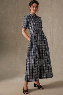 Grace Hill Seersucker Check Maxi Dress - 270466