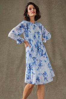 Grace Hill Ruffle Neck Pleated Dress - 270469