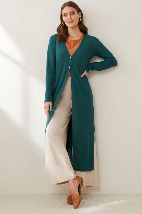 Grace Hill Linen Blend Longline Cardigan