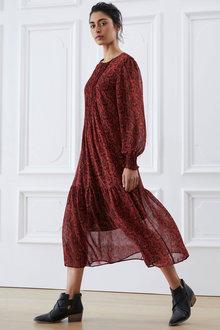 Emerge Pintuck Long Sleeve Midi Dress - 270487