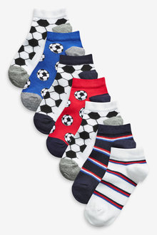 Next 7 Pack Cotton Rich Football Trainer Socks (Older) - 270600