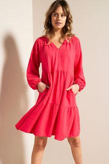 Emerge Linen Blend Long Sleeve Dress - 270663