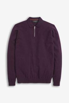 Next Knitted Zip Poloshirt-Regular - 270759
