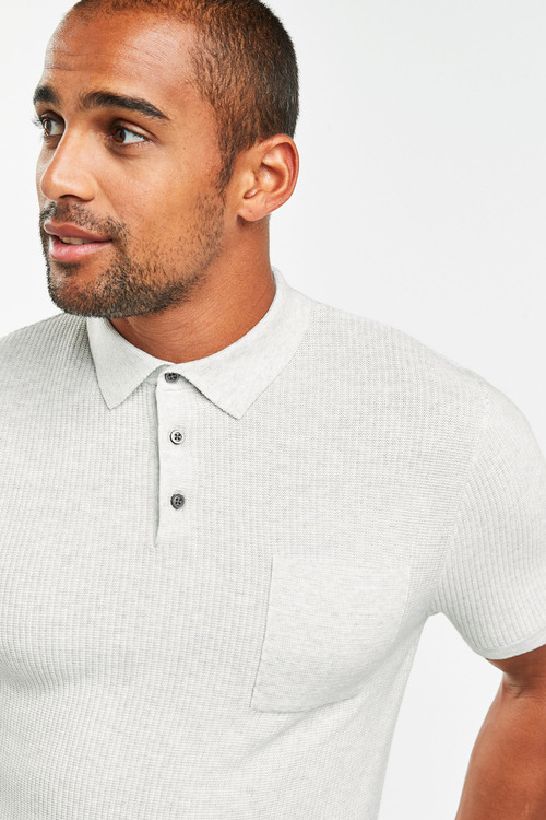 Next Textured Knitted Polo