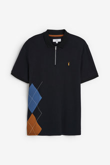 Next Argyle Print Zip Neck Polo - 270763
