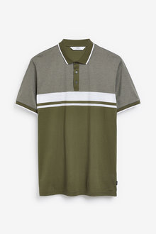 Next Textured Chest Block Polo - 270767