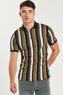 Next Slim Fit Vertical Stripe Zip Neck Poloshirt - 270768