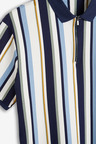 Next Slim Fit Vertical Stripe Zip Neck Poloshirt