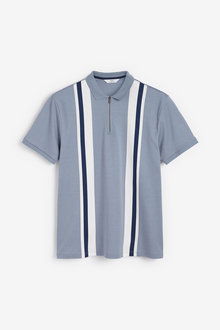 Next Vertical Block Zip Neck Polo - 270789