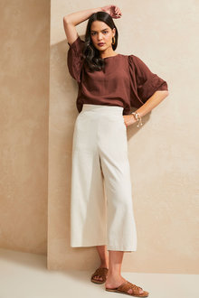 Emerge Linen Blend Wide Leg Culotte - 270801