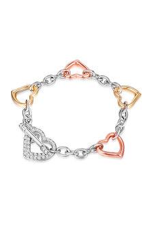 Mestige Wild Hearts Trinity Bracelet with Swarovski Crystals - 270809