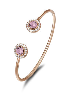 Mestige Rose Gold Ayla Bangle with Pink Swarovski Crystals - 270811