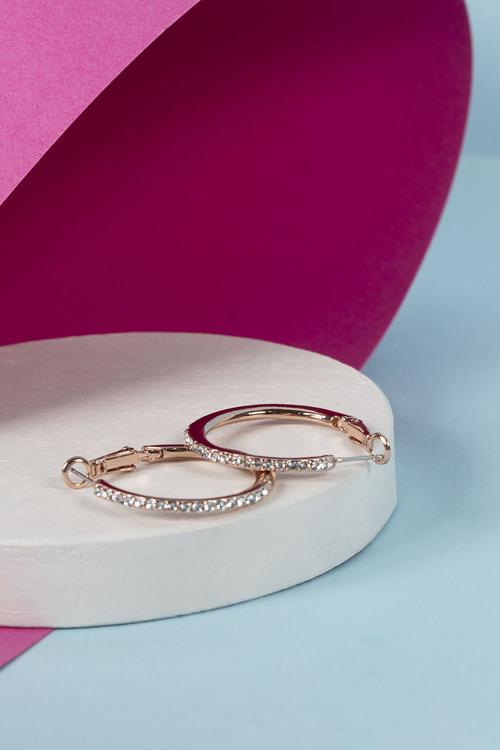 Mestige Rose Gold Bailee Hoop Earrings with Crystals from Swarovski