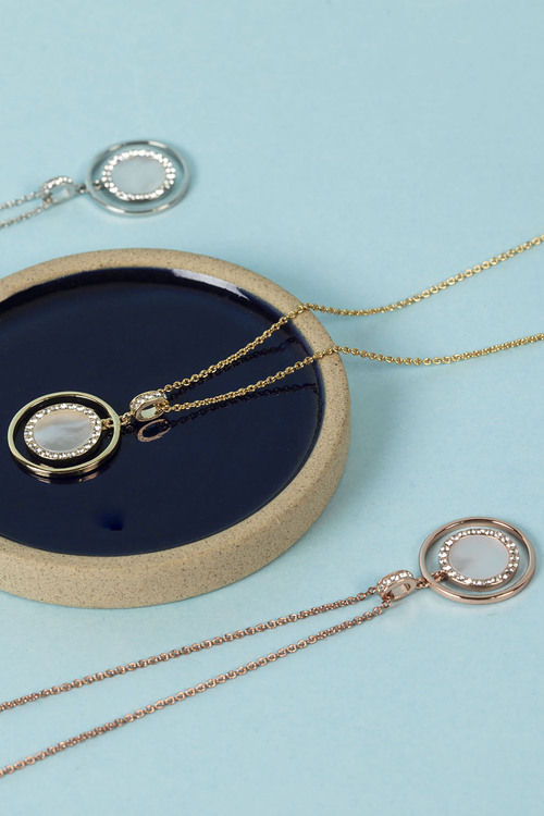 Mestige Rose Gold Touchstone Necklace with Swarovski Crystals