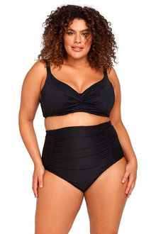 Hues Black Raphael High Waist Ruched Swim Pant - 270861