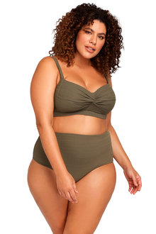 Aria Olive High Waist Swim Pant - 270874