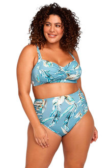 Artesands Side Ruched High Waist Tummy Control Swim Pant - 270877