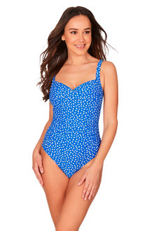 Nip Tuck Blue Twist Front Design One Piece Swimsuit - 270878