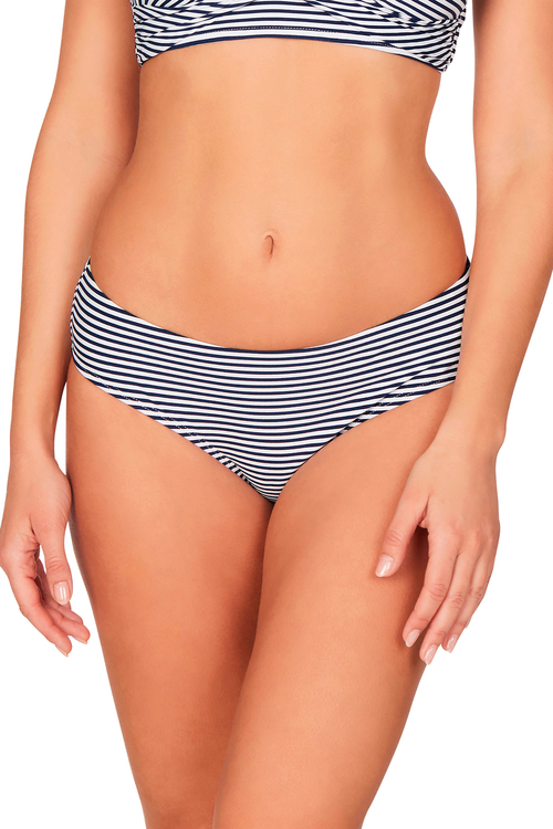 Nip Tuck Swim Stripe Navy Cross Over Bikini Set Swimsuit