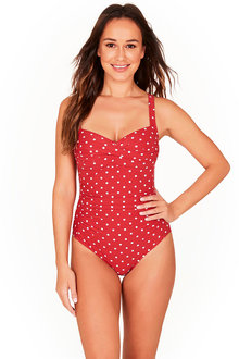 Spot Berry Twist Front One Piece Swimsuit - 270891