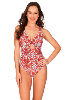 Sakina D/DD Underwire Tie Front One Piece Swimsuit - 270898