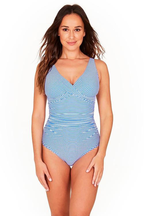 Nip Tuck Swim Stripe Sky Blue Cross Front One Piece Swimsuit