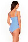 Stripe Sky Blue Cross Front One Piece Swimsuit
