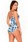Blue Ink Cross Front One Piece Swimsuit
