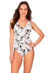 Floral Opulence White Cross Front One Piece Swimsuit