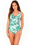 Oasis Green Cross Front One Piece Swimsuit