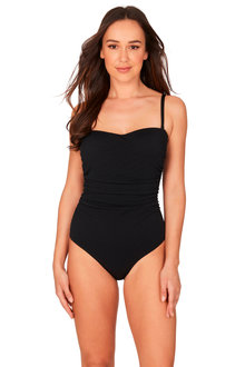 Nip Tuck Black Texture Bandeau One Piece Swimsuit - 270927