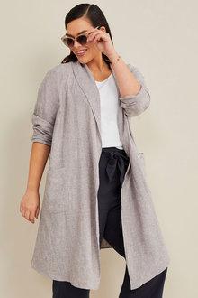Sara Linen Blend Longline Jacket - 271121