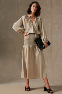 Grace Hill Poplin Shirred Waist Skirt - 271140