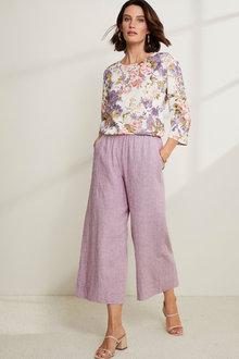 Grace Hill Linen Blend Crop Culotte - 271145