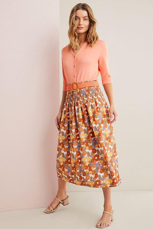 Capture Linen Blend Shirred Midi Skirt