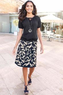 Euro Edit Waist Tie Printed Skirt - 271429