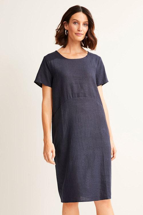 Capture Linen Blend Panel Pocket Dress