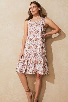 Capture Linen Blend Square Neck Dress - 271520