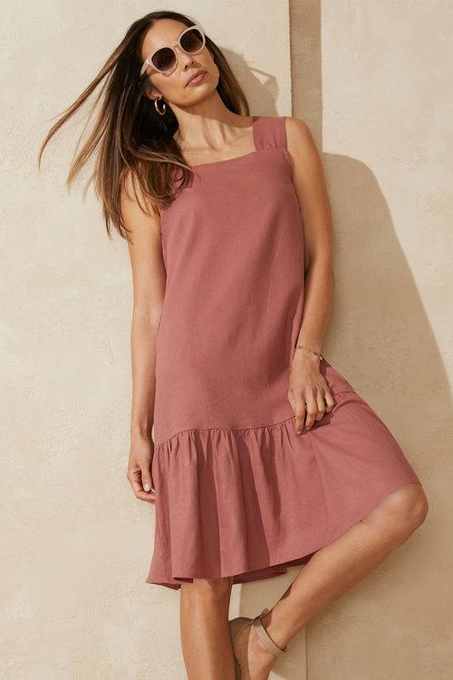 Capture Linen Blend Square Neck Dress