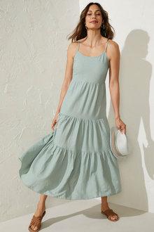 Capture Linen Blend Tiered Maxi Dress - 271521