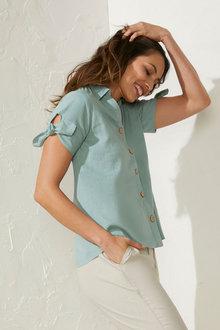 Capture Linen Blend Tie Sleeve Shirt - 271541