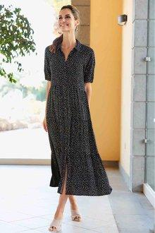 European Collection Dot Print Maxi Dress - 271548