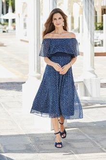 European Collection Off Shoulder Print Dress - 271550