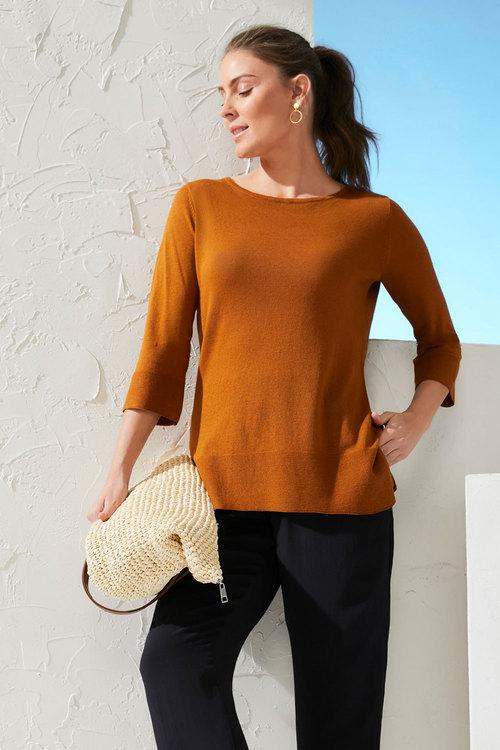 Capture Linen Blend Boat Neck Sweater