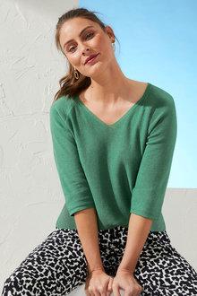 Capture Linen Blend V-Neck Sweater - 271591